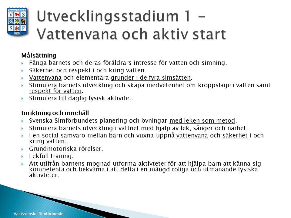Västsvenska Simförbundet Målsättning  Fånga barnets och deras föräldrars intresse för vatten och simning.  Säkerhet och respekt i och kring vatten.