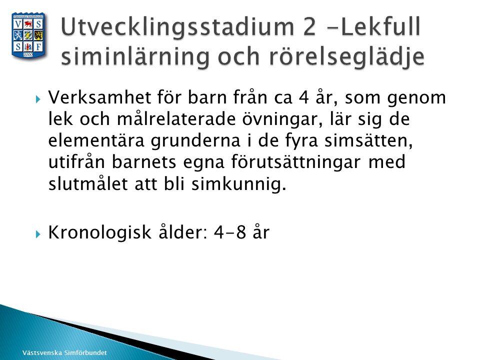 Västsvenska Simförbundet  Verksamhet för barn från ca 4 år, som genom lek och målrelaterade övningar, lär sig de elementära grunderna i de fyra simsä