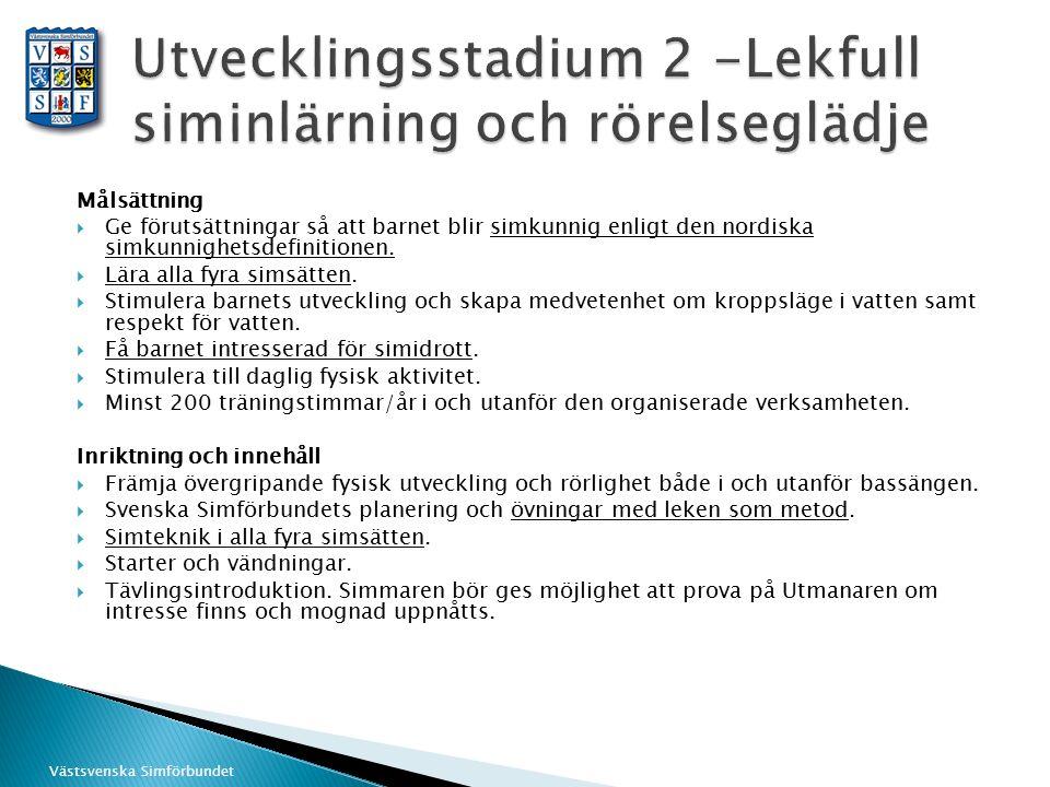 Västsvenska Simförbundet Målsättning  Ge förutsättningar så att barnet blir simkunnig enligt den nordiska simkunnighetsdefinitionen.  Lära alla fyra