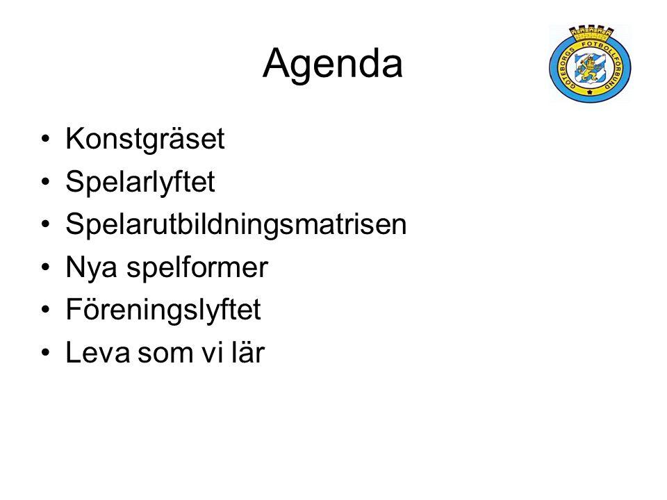 Agenda Konstgräset Spelarlyftet Spelarutbildningsmatrisen Nya spelformer Föreningslyftet Leva som vi lär