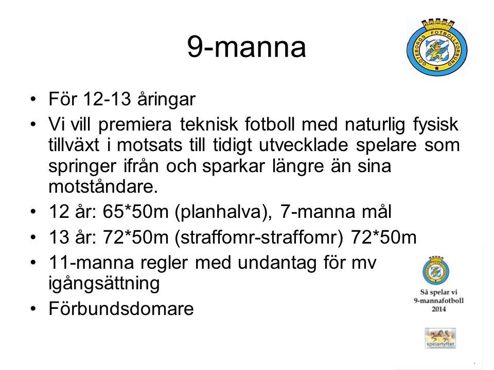 9-manna För 12-13 åringar Vi vill premiera teknisk fotboll med naturlig fysisk tillväxt i motsats till tidigt utvecklade spelare som springer ifrån och sparkar längre än sina motståndare.