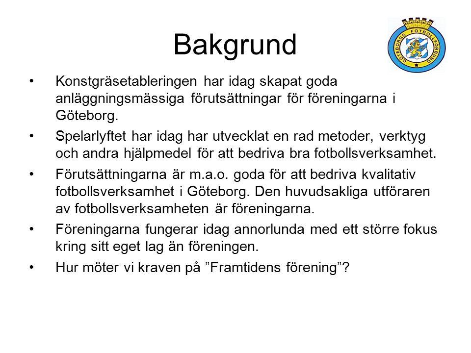 Bakgrund Konstgräsetableringen har idag skapat goda anläggningsmässiga förutsättningar för föreningarna i Göteborg.