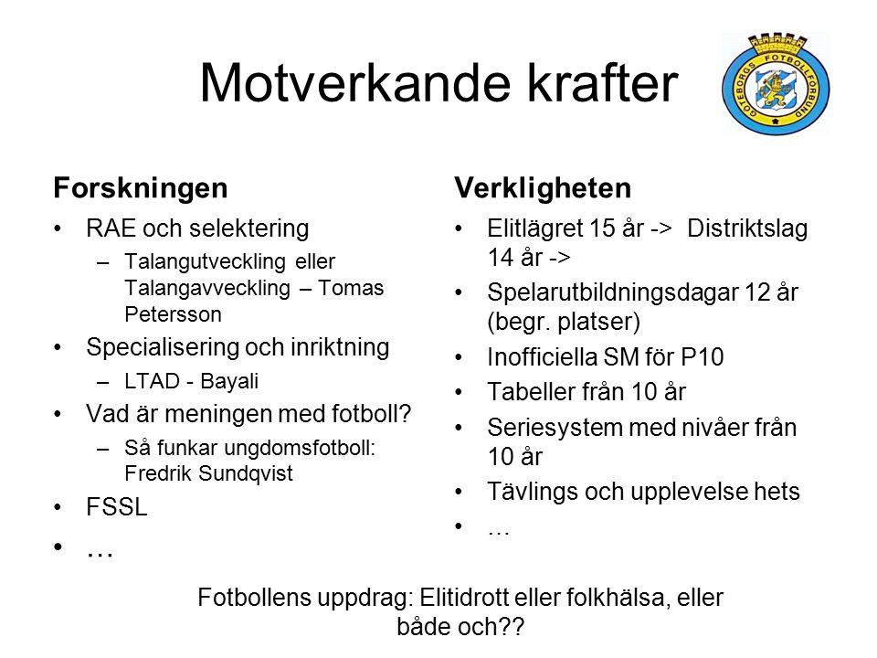 Motverkande krafter Forskningen RAE och selektering –Talangutveckling eller Talangavveckling – Tomas Petersson Specialisering och inriktning –LTAD - Bayali Vad är meningen med fotboll.