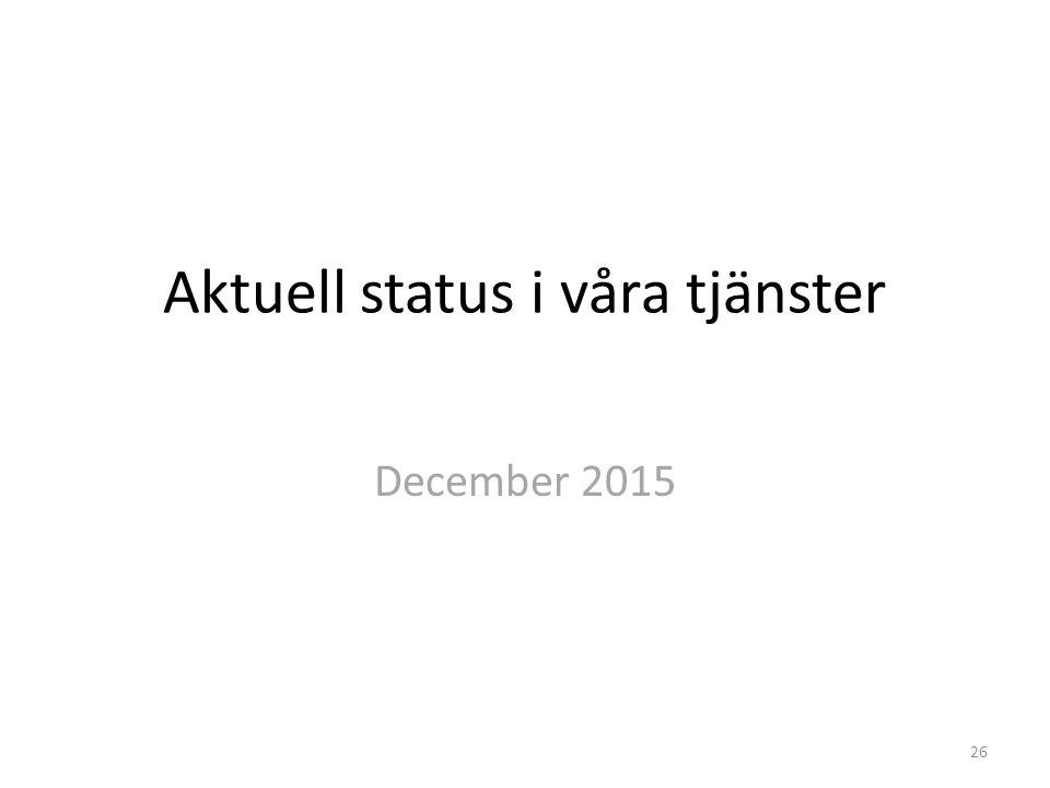 Aktuell status i våra tjänster December 2015 26