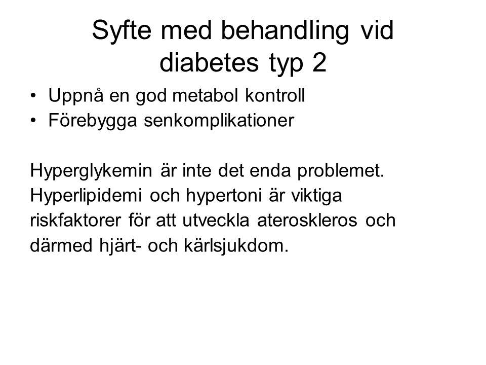 Syfte med behandling vid diabetes typ 2 Uppnå en god metabol kontroll Förebygga senkomplikationer Hyperglykemin är inte det enda problemet.