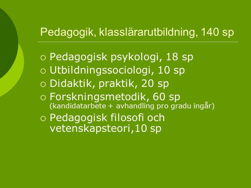 Pedagogik, klasslärarutbildning, 140 sp  Pedagogisk psykologi, 18 sp  Utbildningssociologi, 10 sp  Didaktik, praktik, 20 sp  Forskningsmetodik, 60