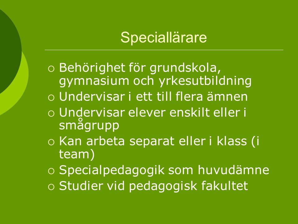 Speciallärare  Behörighet för grundskola, gymnasium och yrkesutbildning  Undervisar i ett till flera ämnen  Undervisar elever enskilt eller i smågr
