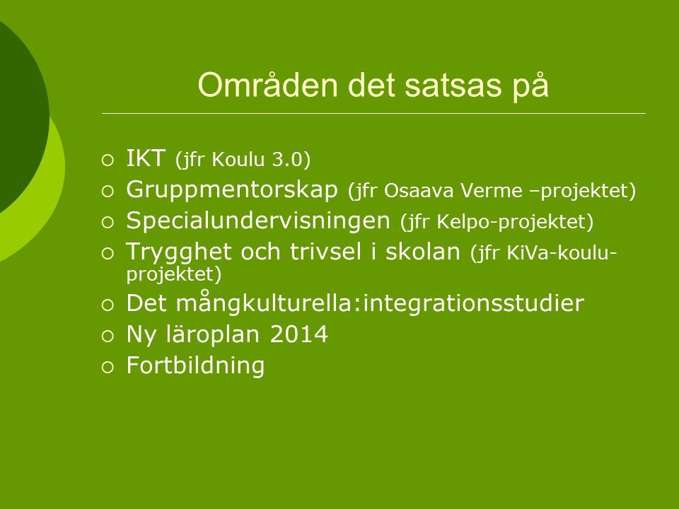 Områden det satsas på  IKT (jfr Koulu 3.0)  Gruppmentorskap (jfr Osaava Verme –projektet)  Specialundervisningen (jfr Kelpo-projektet)  Trygghet och trivsel i skolan (jfr KiVa-koulu- projektet)  Det mångkulturella:integrationsstudier  Ny läroplan 2014  Fortbildning
