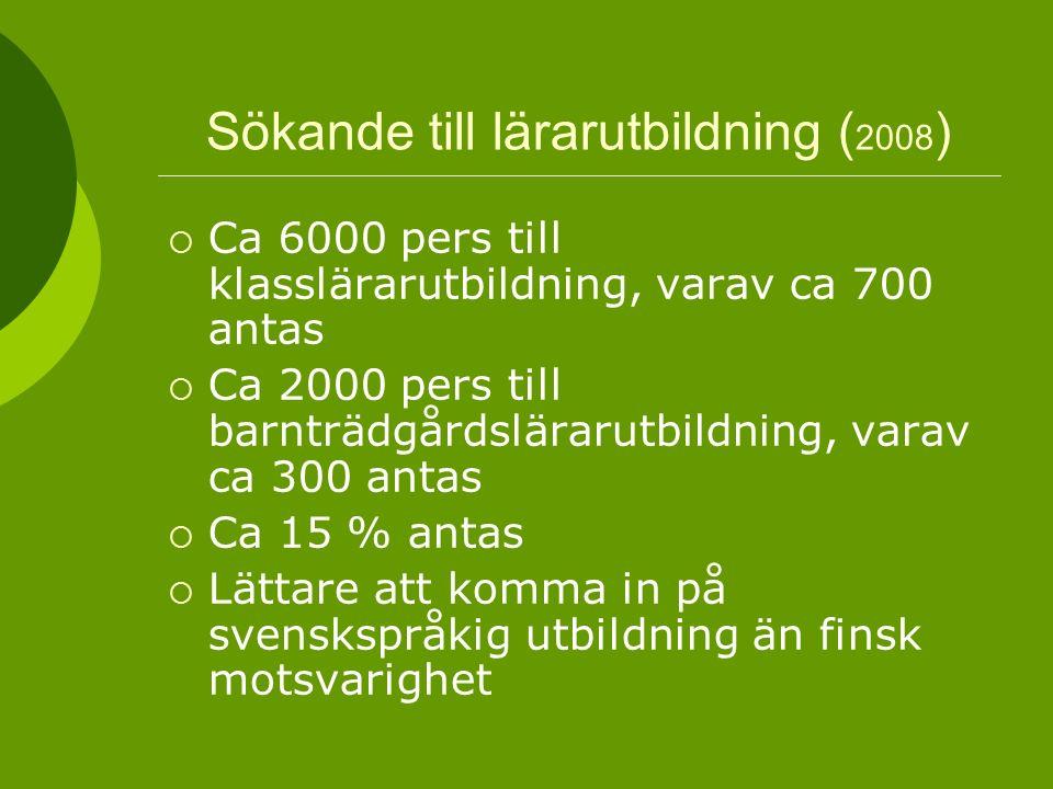 Sökande till lärarutbildning ( 2008 )  Ca 6000 pers till klasslärarutbildning, varav ca 700 antas  Ca 2000 pers till barnträdgårdslärarutbildning, varav ca 300 antas  Ca 15 % antas  Lättare att komma in på svenskspråkig utbildning än finsk motsvarighet