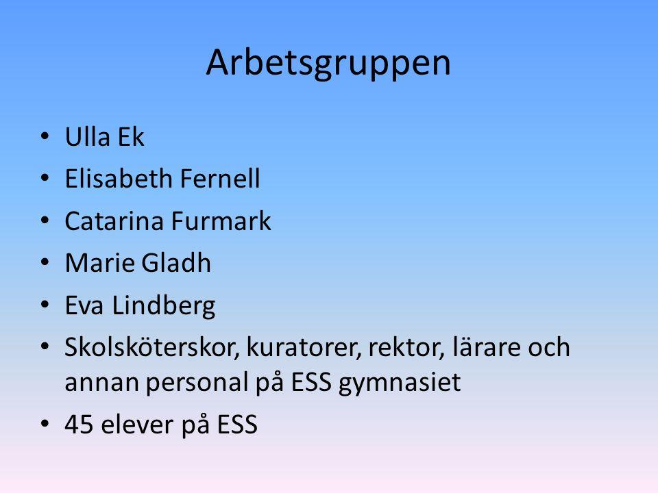 Arbetsgruppen Ulla Ek Elisabeth Fernell Catarina Furmark Marie Gladh Eva Lindberg Skolsköterskor, kuratorer, rektor, lärare och annan personal på ESS