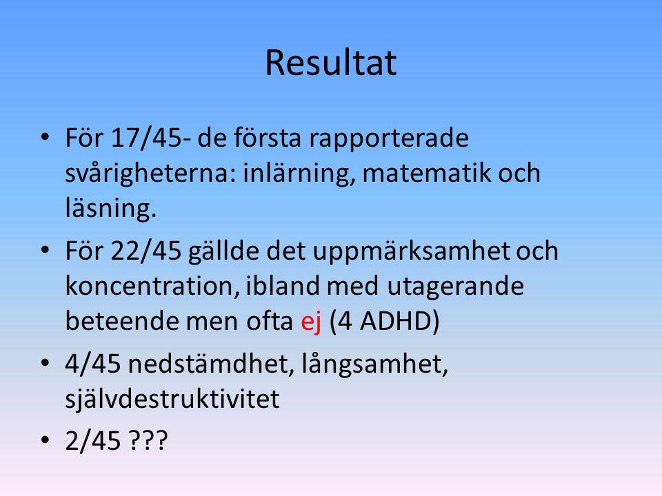 Resultat För 17/45- de första rapporterade svårigheterna: inlärning, matematik och läsning. För 22/45 gällde det uppmärksamhet och koncentration, ibla