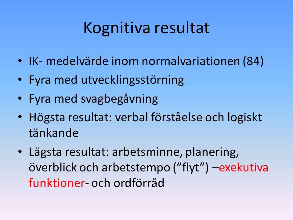 Kognitiva resultat IK- medelvärde inom normalvariationen (84) Fyra med utvecklingsstörning Fyra med svagbegåvning Högsta resultat: verbal förståelse och logiskt tänkande Lägsta resultat: arbetsminne, planering, överblick och arbetstempo ( flyt ) –exekutiva funktioner- och ordförråd