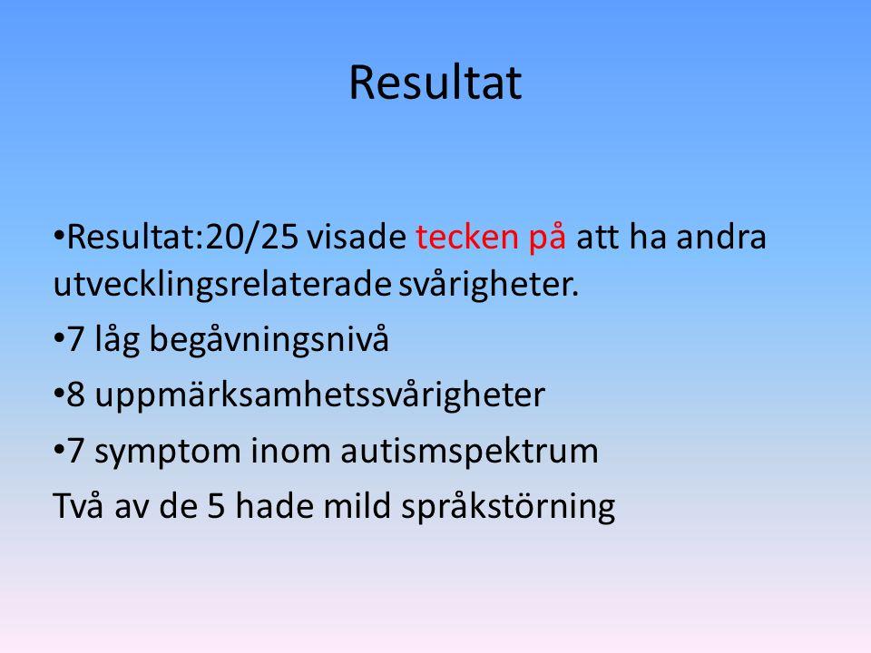 Resultat Resultat:20/25 visade tecken på att ha andra utvecklingsrelaterade svårigheter.