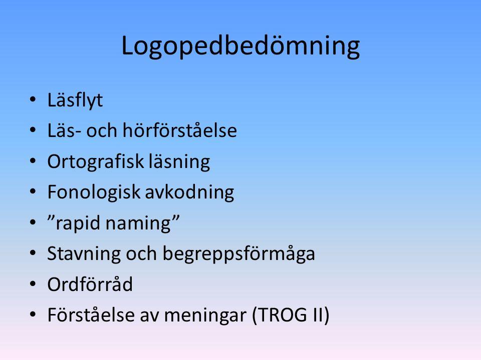Logopedbedömning Läsflyt Läs- och hörförståelse Ortografisk läsning Fonologisk avkodning rapid naming Stavning och begreppsförmåga Ordförråd Förståelse av meningar (TROG II)