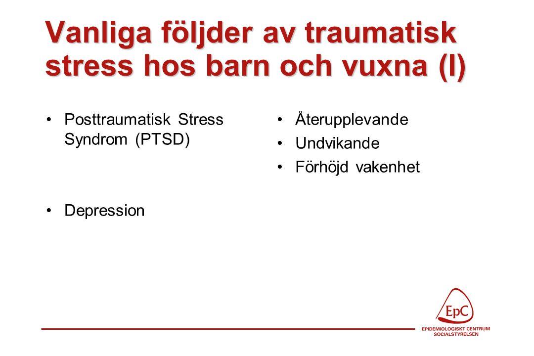 Vanliga följder av traumatisk stress hos barn och vuxna (I) Posttraumatisk Stress Syndrom (PTSD) Depression Återupplevande Undvikande Förhöjd vakenhet