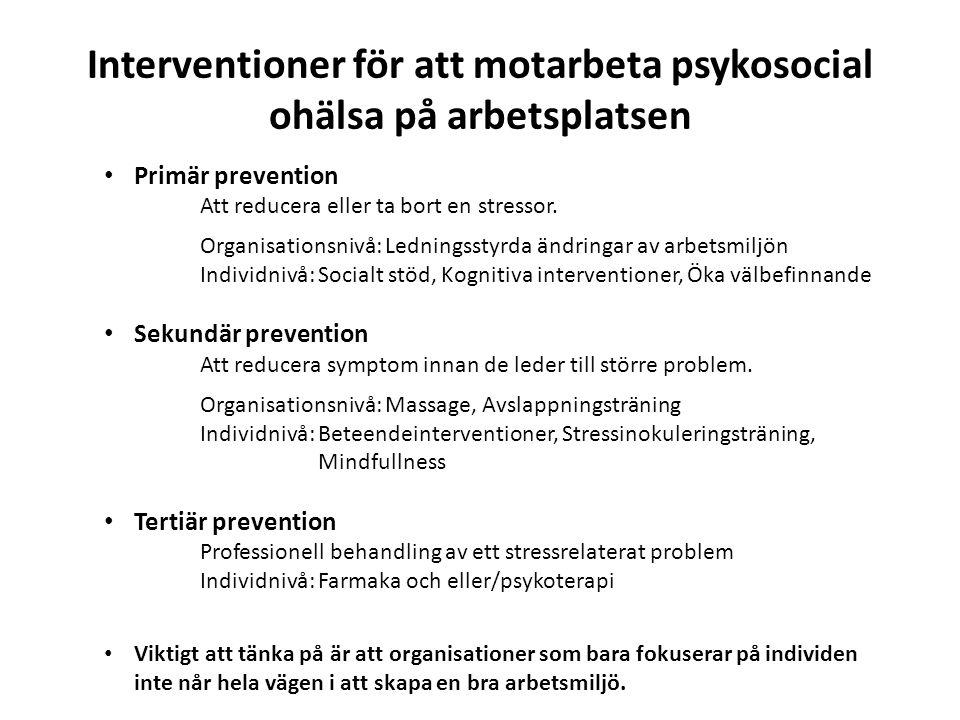 Interventioner för att motarbeta psykosocial ohälsa på arbetsplatsen Primär prevention Att reducera eller ta bort en stressor.