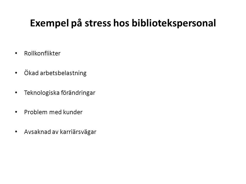 Exempel på stress hos bibliotekspersonal Rollkonflikter Ökad arbetsbelastning Teknologiska förändringar Problem med kunder Avsaknad av karriärsvägar