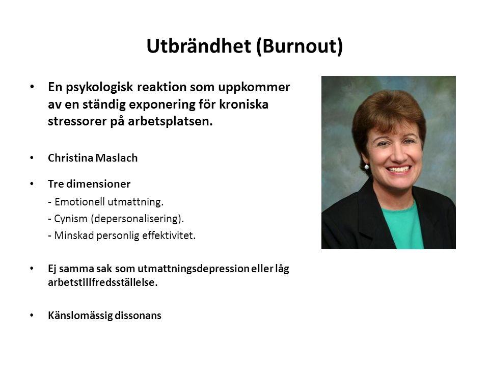 Utbrändhet (Burnout) En psykologisk reaktion som uppkommer av en ständig exponering för kroniska stressorer på arbetsplatsen.