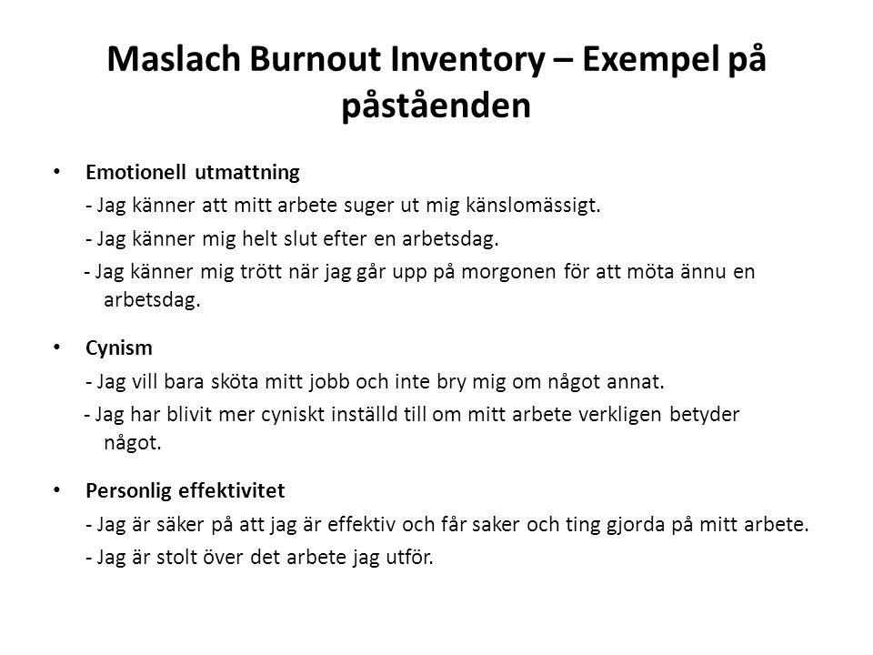 Maslach Burnout Inventory – Exempel på påståenden Emotionell utmattning - Jag känner att mitt arbete suger ut mig känslomässigt.