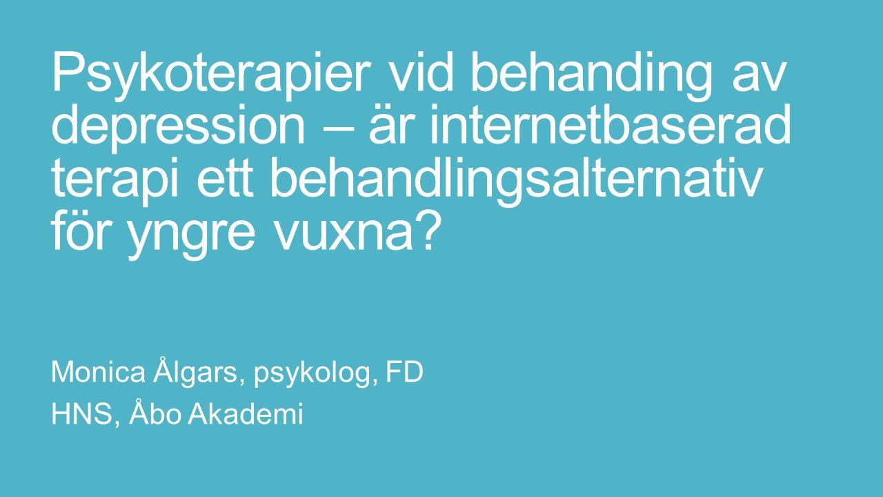 Psykoterapier vid behanding av depression – är internetbaserad terapi ett behandlingsalternativ för yngre vuxna.