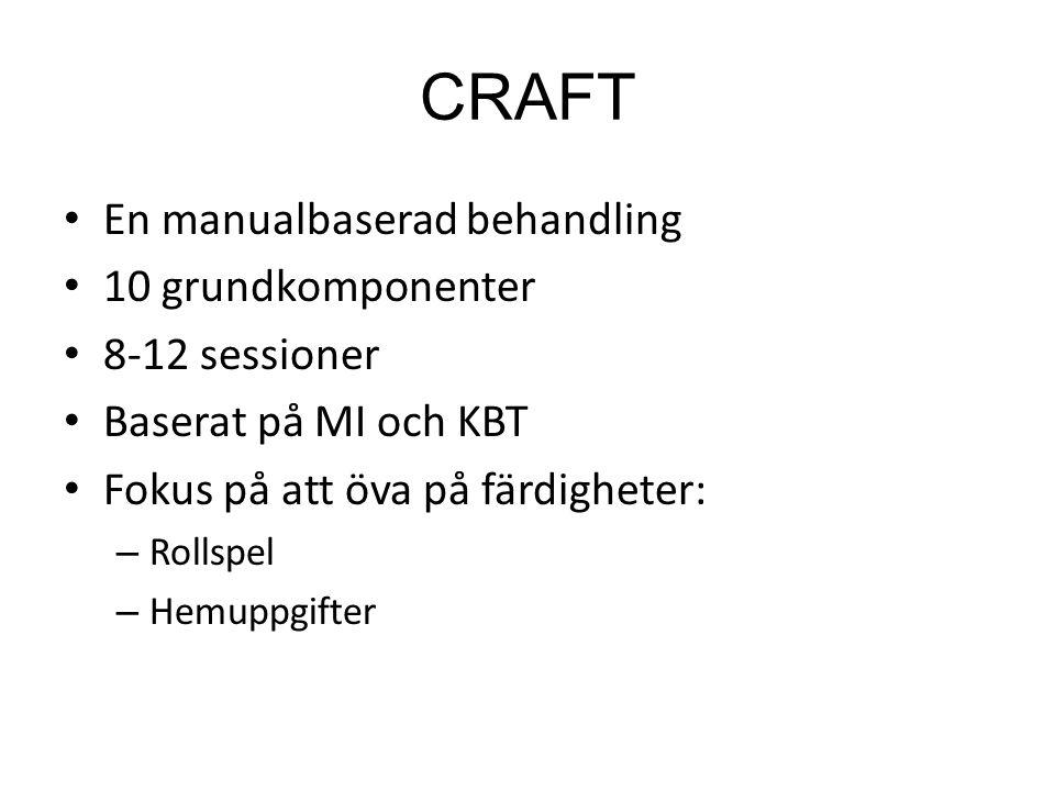 CRAFT En manualbaserad behandling 10 grundkomponenter 8-12 sessioner Baserat på MI och KBT Fokus på att öva på färdigheter: – Rollspel – Hemuppgifter