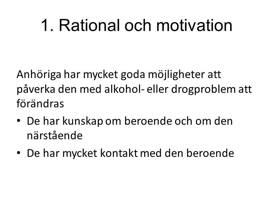 1. Rational och motivation Anhöriga har mycket goda möjligheter att påverka den med alkohol- eller drogproblem att förändras De har kunskap om beroend