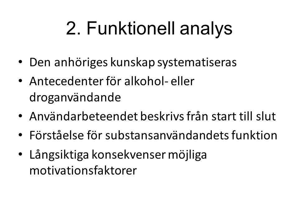 2. Funktionell analys Den anhöriges kunskap systematiseras Antecedenter för alkohol- eller droganvändande Användarbeteendet beskrivs från start till s
