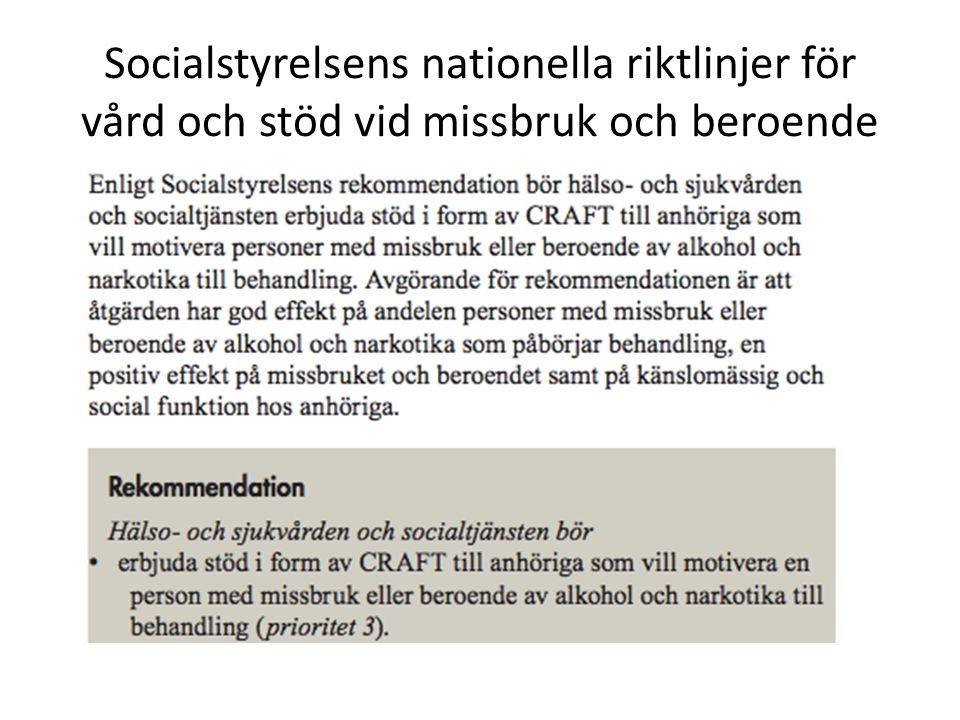 Socialstyrelsens nationella riktlinjer för vård och stöd vid missbruk och beroende