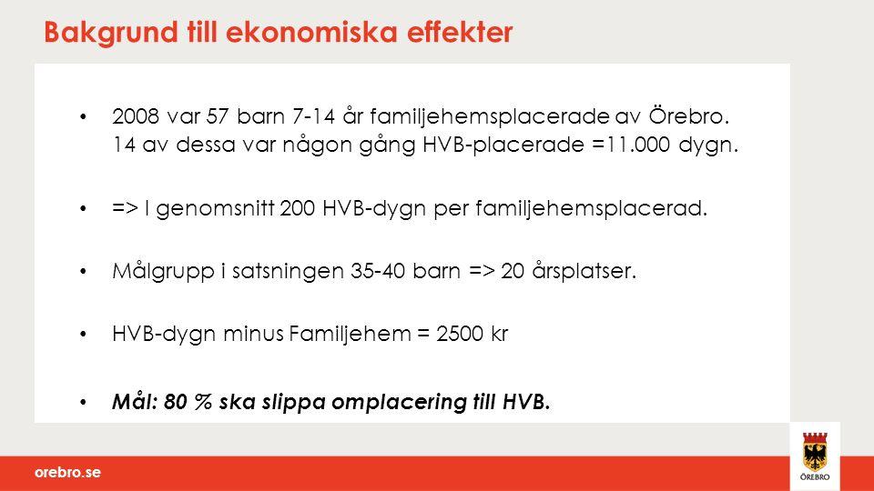 orebro.se Bakgrund till ekonomiska effekter 2008 var 57 barn 7-14 år familjehemsplacerade av Örebro.