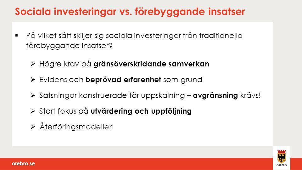 orebro.se  Minskat behov av öppenvård: 300 tkr (6 år) Statistiskt bör Skolfam kunna skydda ett par personer från missbruk.