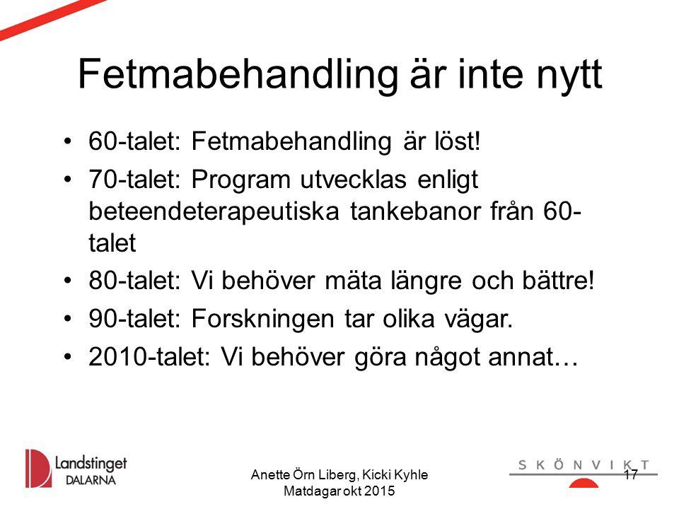 Anette Örn Liberg, Kicki Kyhle Matdagar okt 2015 17 Fetmabehandling är inte nytt 60-talet: Fetmabehandling är löst! 70-talet: Program utvecklas enligt