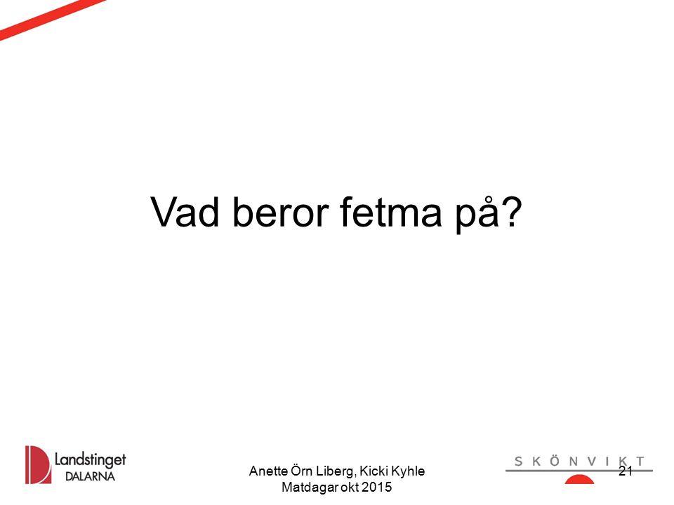 Anette Örn Liberg, Kicki Kyhle Matdagar okt 2015 Vad beror fetma på? 21