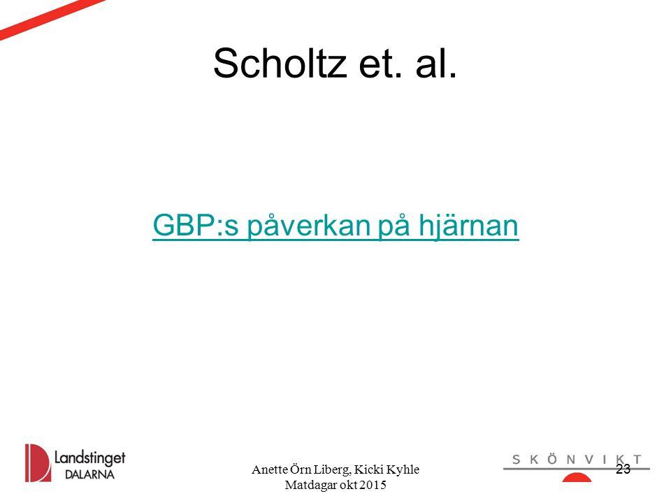 Scholtz et. al. GBP:s påverkan på hjärnan Anette Örn Liberg, Kicki Kyhle Matdagar okt 2015 23