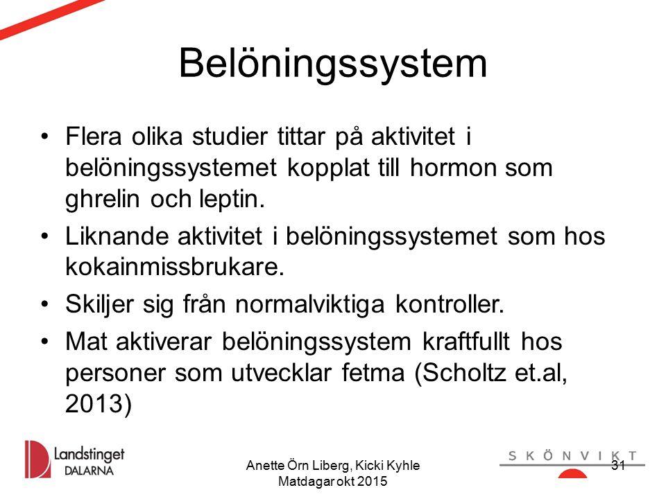 Anette Örn Liberg, Kicki Kyhle Matdagar okt 2015 31 Belöningssystem Flera olika studier tittar på aktivitet i belöningssystemet kopplat till hormon som ghrelin och leptin.