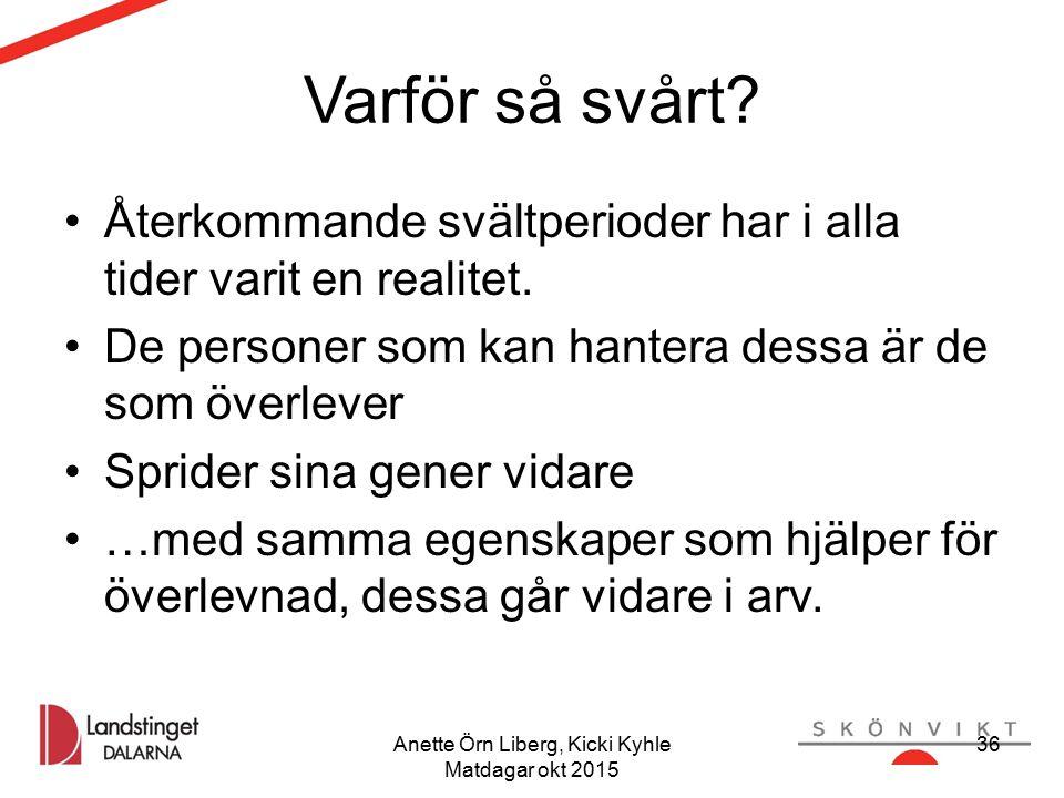 Anette Örn Liberg, Kicki Kyhle Matdagar okt 2015 Varför så svårt? Återkommande svältperioder har i alla tider varit en realitet. De personer som kan h