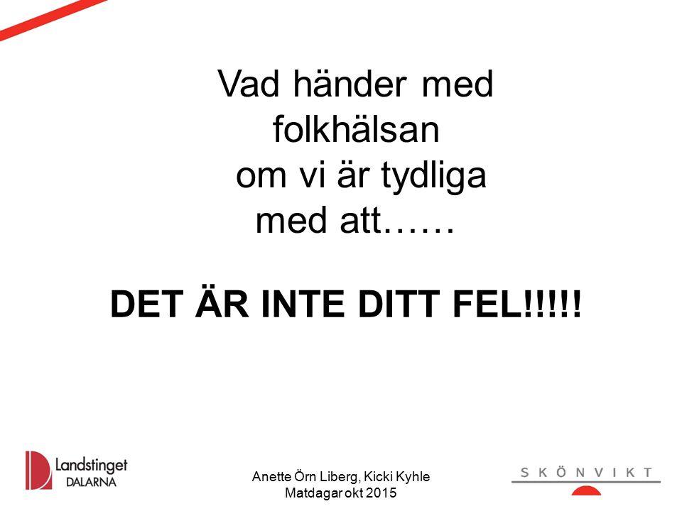 Vad händer med folkhälsan om vi är tydliga med att…… DET ÄR INTE DITT FEL!!!!! Anette Örn Liberg, Kicki Kyhle Matdagar okt 2015 40