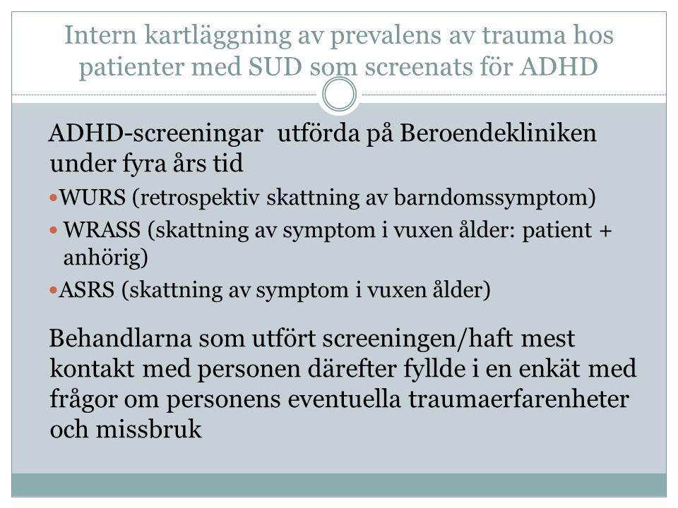 Intern kartläggning av prevalens av trauma hos patienter med SUD som screenats för ADHD ADHD-screeningar utförda på Beroendekliniken under fyra års tid WURS (retrospektiv skattning av barndomssymptom) WRASS (skattning av symptom i vuxen ålder: patient + anhörig) ASRS (skattning av symptom i vuxen ålder) Behandlarna som utfört screeningen/haft mest kontakt med personen därefter fyllde i en enkät med frågor om personens eventuella traumaerfarenheter och missbruk