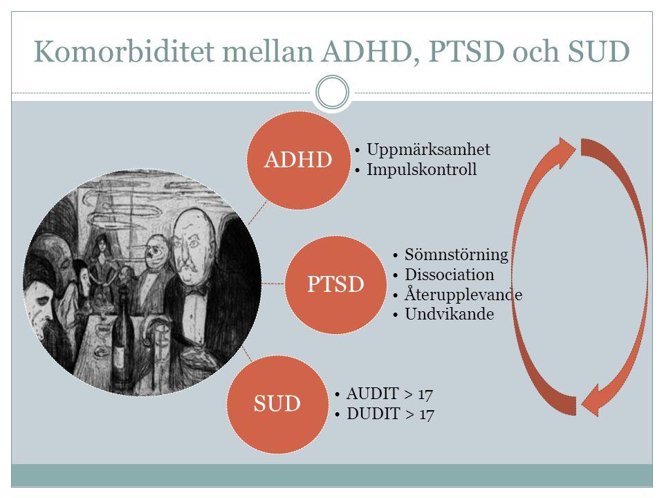 Komorbiditet mellan ADHD, PTSD och SUD ADHD Uppmärksamhet Impulskontroll PTSD Sömnstörning Dissociation Återupplevande Undvikande SUD AUDIT > 17 DUDIT > 17