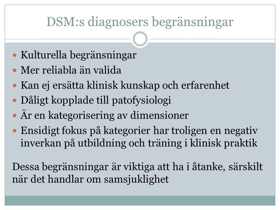 DSM:s diagnosers begränsningar Kulturella begränsningar Mer reliabla än valida Kan ej ersätta klinisk kunskap och erfarenhet Dåligt kopplade till pato