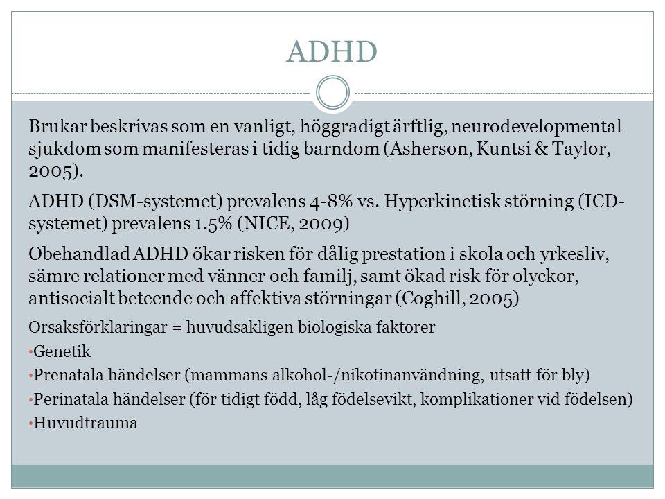 ADHD Brukar beskrivas som en vanligt, höggradigt ärftlig, neurodevelopmental sjukdom som manifesteras i tidig barndom (Asherson, Kuntsi & Taylor, 2005).