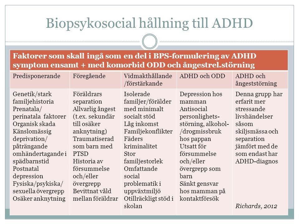 Biopsykosocial hållning till ADHD Faktorer som skall ingå som en del i BPS-formulering av ADHD symptom ensamt + med komorbid ODD och ångestrel.störning PredisponerandeFöregåendeVidmakthållande /förstärkande ADHD och ODDADHD och ångeststörning Genetik/stark familjehistoria Prenatala/ perinatala faktorer Organisk skada Känslomässig deprivation/ påträngande omhändertagande i spädbarnstid Postnatal depression Fysiska/psykiska/ sexuella övergrepp Osäker anknytning Föräldrars separation Allvarlig ångest (t.ex.