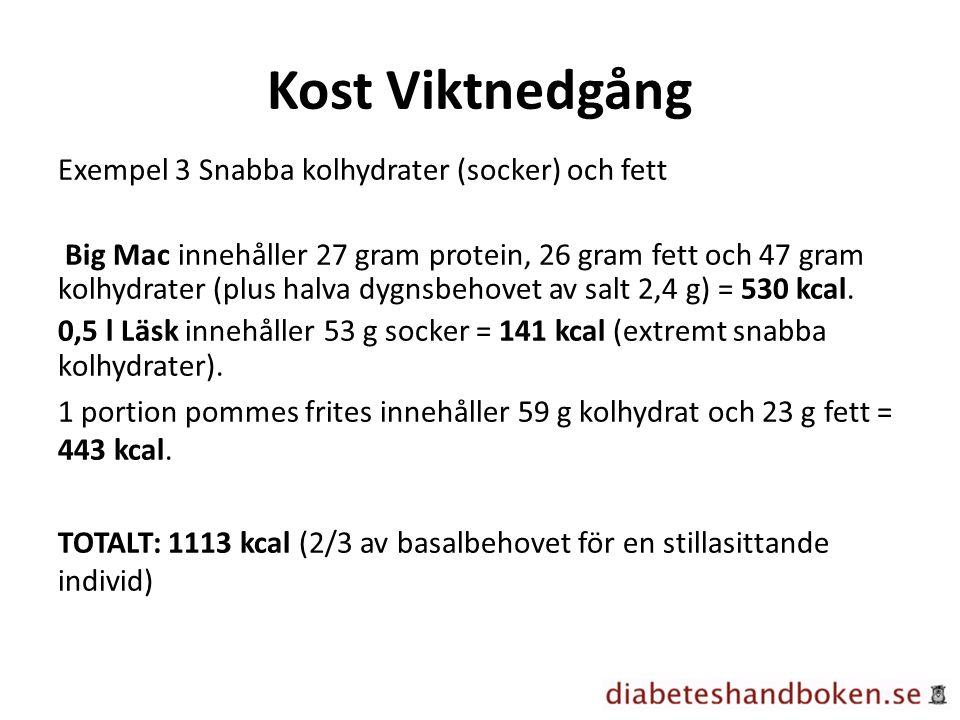 Kost Viktnedgång Exempel 3 Snabba kolhydrater (socker) och fett Big Mac innehåller 27 gram protein, 26 gram fett och 47 gram kolhydrater (plus halva d