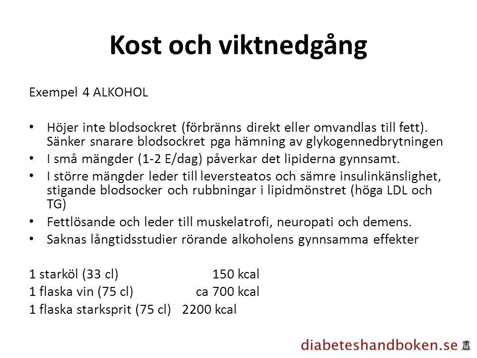 Kost och viktnedgång Exempel 4 ALKOHOL Höjer inte blodsockret (förbränns direkt eller omvandlas till fett). Sänker snarare blodsockret pga hämning av