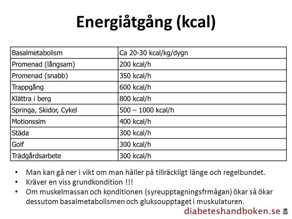 Energiåtgång (kcal) Man kan gå ner i vikt om man håller på tillräckligt länge och regelbundet.