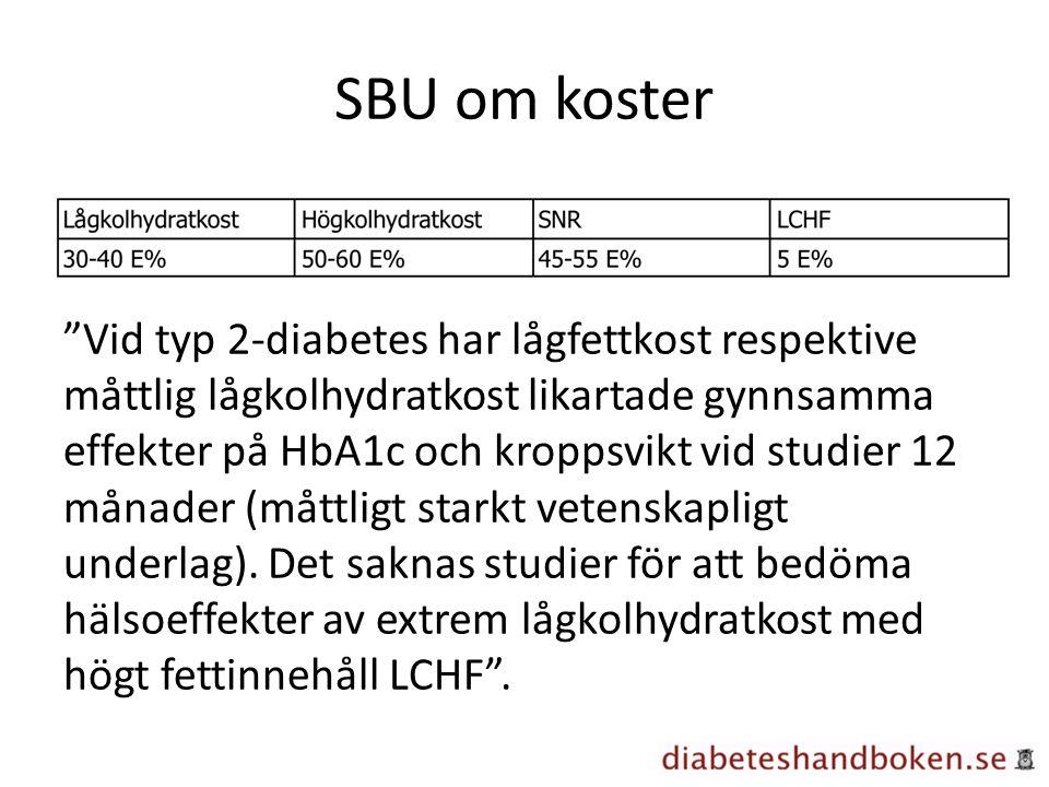 SBU om koster Vid typ 2-diabetes har lågfettkost respektive måttlig lågkolhydratkost likartade gynnsamma effekter på HbA1c och kroppsvikt vid studier 12 månader (måttligt starkt vetenskapligt underlag).