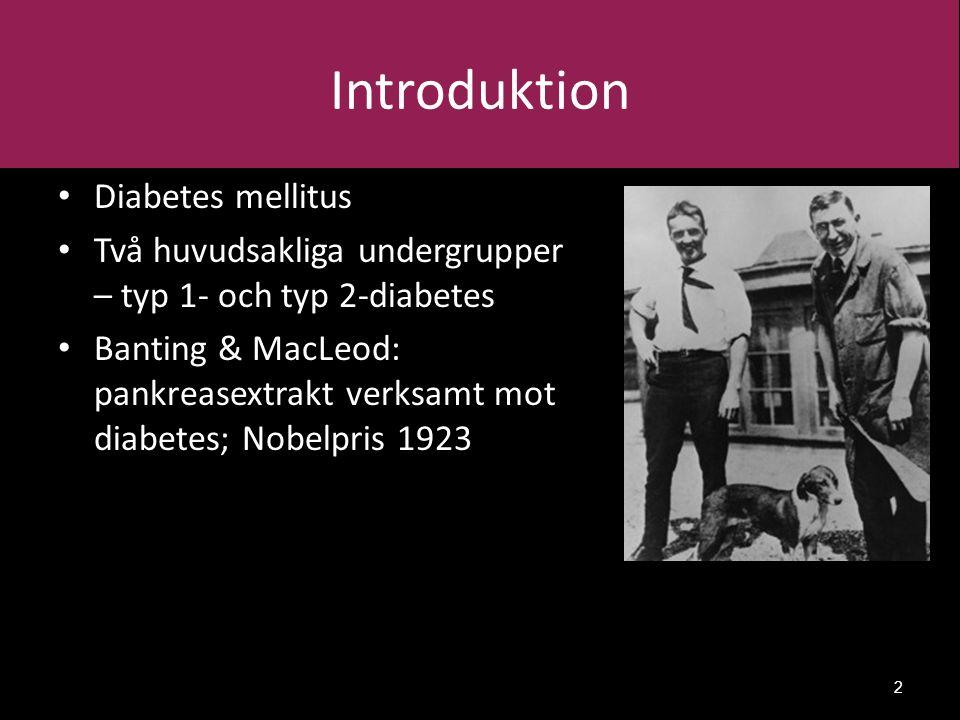 Introduktion Diabetes mellitus Två huvudsakliga undergrupper – typ 1- och typ 2-diabetes Banting & MacLeod: pankreasextrakt verksamt mot diabetes; Nobelpris 1923 2