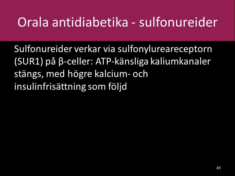 Orala antidiabetika - sulfonureider Sulfonureider verkar via sulfonylureareceptorn (SUR1) på β-celler: ATP-känsliga kaliumkanaler stängs, med högre kalcium- och insulinfrisättning som följd 41