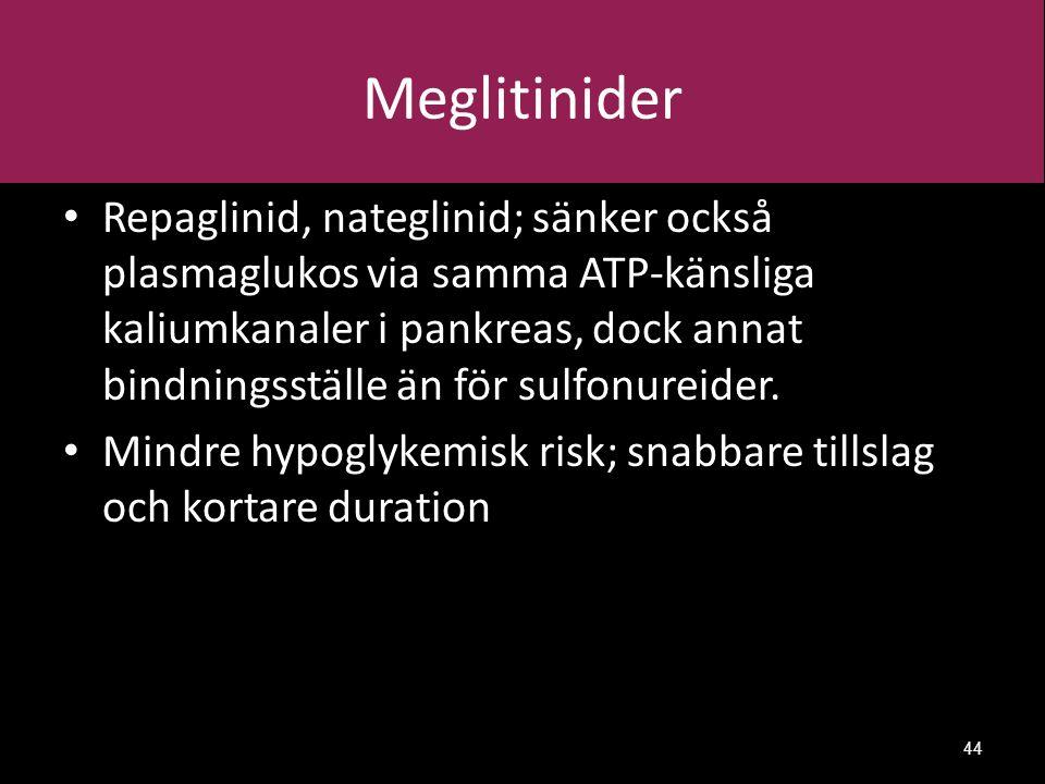 Meglitinider Repaglinid, nateglinid; sänker också plasmaglukos via samma ATP-känsliga kaliumkanaler i pankreas, dock annat bindningsställe än för sulfonureider.