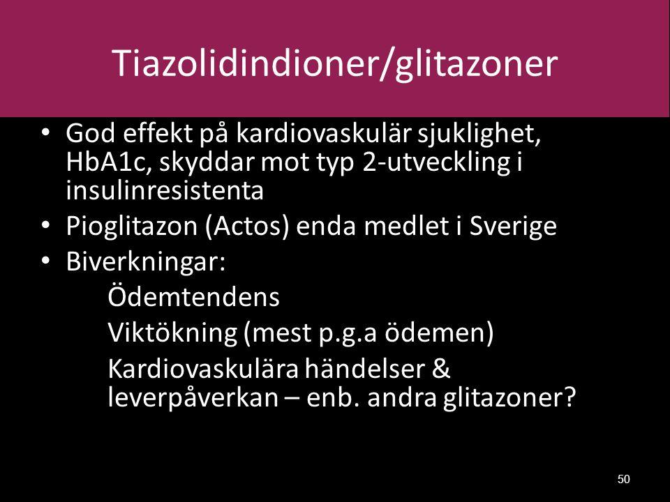 Tiazolidindioner/glitazoner God effekt på kardiovaskulär sjuklighet, HbA1c, skyddar mot typ 2-utveckling i insulinresistenta Pioglitazon (Actos) enda medlet i Sverige Biverkningar: Ödemtendens Viktökning (mest p.g.a ödemen) Kardiovaskulära händelser & leverpåverkan – enb.