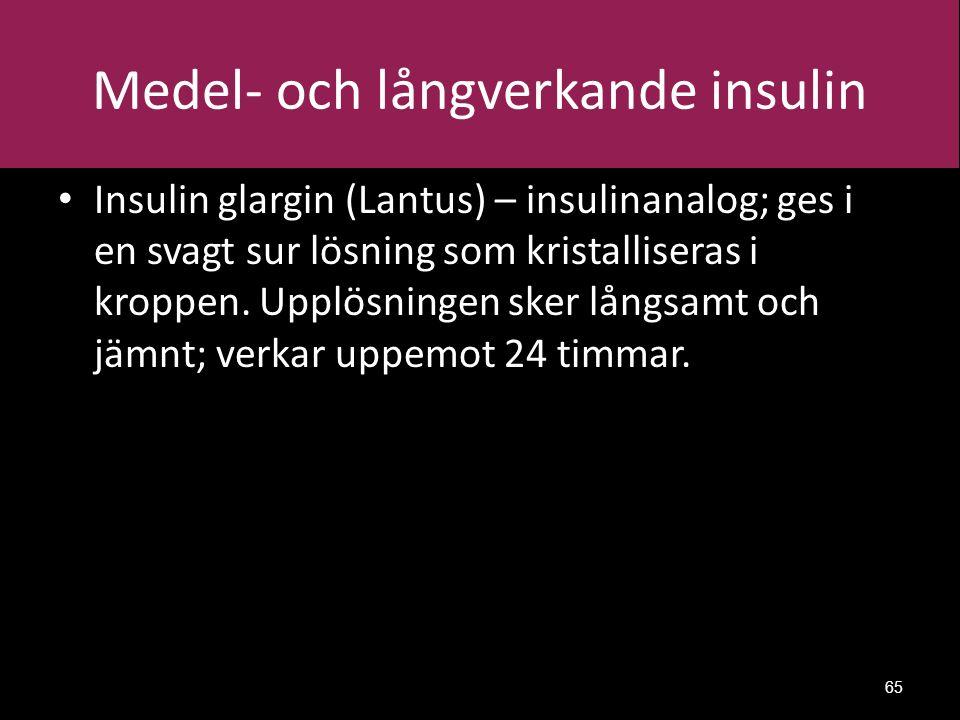 Medel- och långverkande insulin Insulin glargin (Lantus) – insulinanalog; ges i en svagt sur lösning som kristalliseras i kroppen.